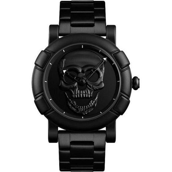 Montre Tête de Mort Homme 3D Bracelet Acier