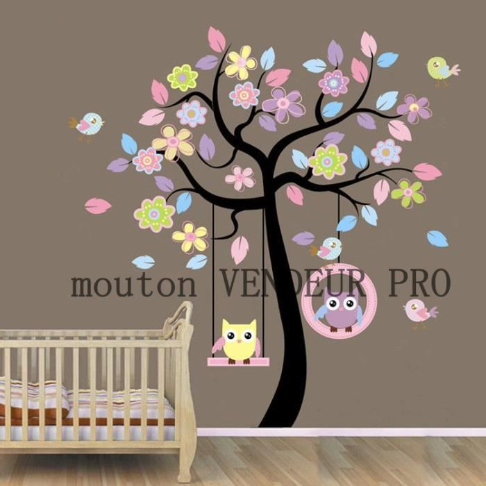 stickers muraux enfant arbre et hibou achat vente. Black Bedroom Furniture Sets. Home Design Ideas