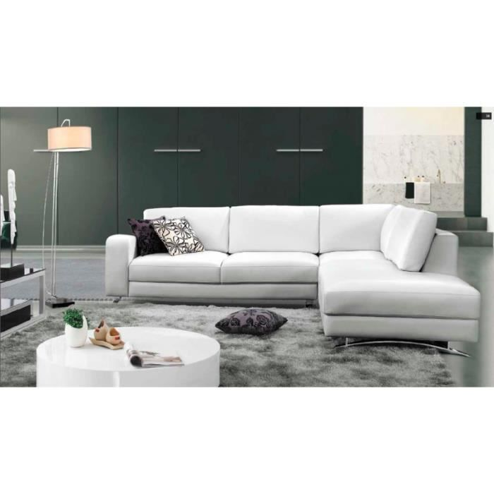 canap d 39 angle cuir blanc avec m ridienne achat. Black Bedroom Furniture Sets. Home Design Ideas