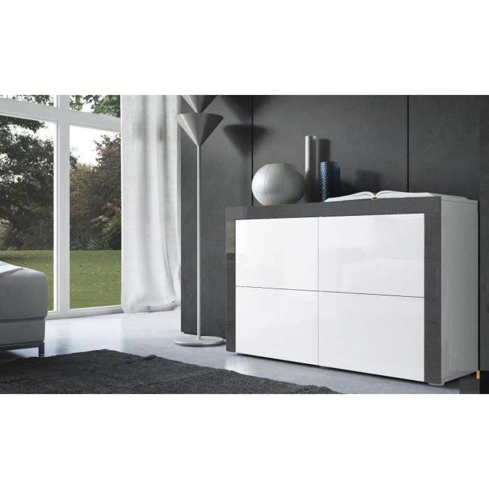 commode blanche au contour noir m tallique 110cm achat. Black Bedroom Furniture Sets. Home Design Ideas