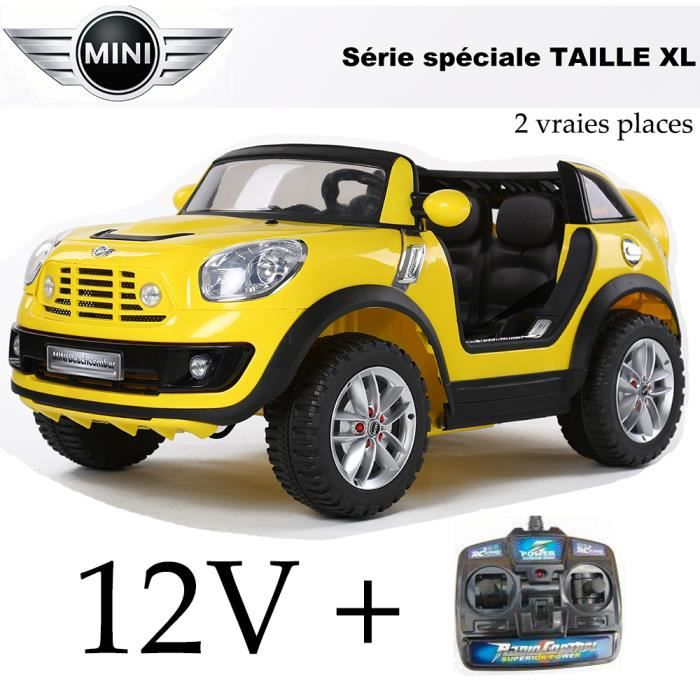 voiture lectrique enfant 2 places mini cooper jaune 12 volts achat vente voiture enfant. Black Bedroom Furniture Sets. Home Design Ideas