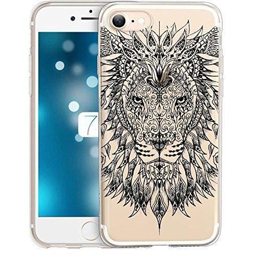 coque iphone 7 lion jungle wild tatoo doodling noi