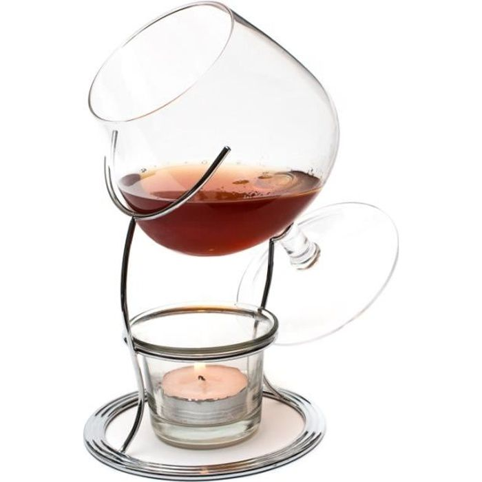 ckb ltd verre cognac brandy snifter warmer tealight candle crome holder verres cognac et. Black Bedroom Furniture Sets. Home Design Ideas