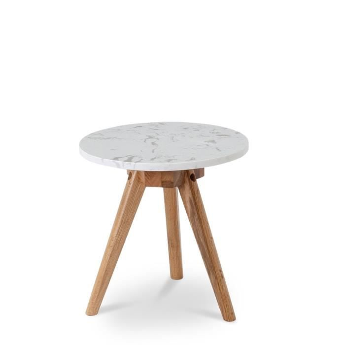 table d 39 appoint ronde marbre et bois white ston achat vente table d 39 appoint table d. Black Bedroom Furniture Sets. Home Design Ideas