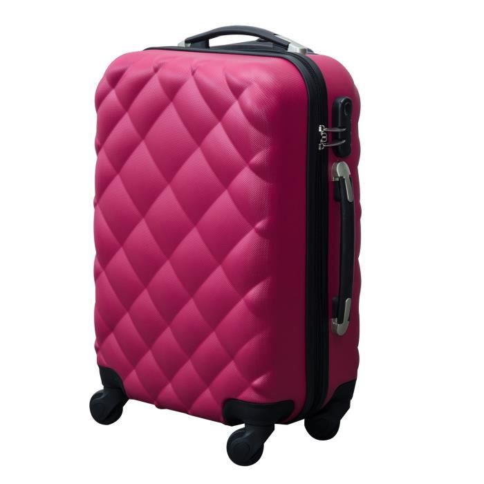 valise rigide de voyage trolley bagage roulettes rose achat vente valise bagage. Black Bedroom Furniture Sets. Home Design Ideas