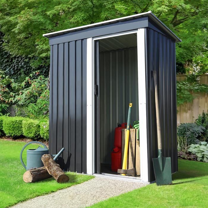 Abri de jardin 1,3 M² gris en acier galvanisé