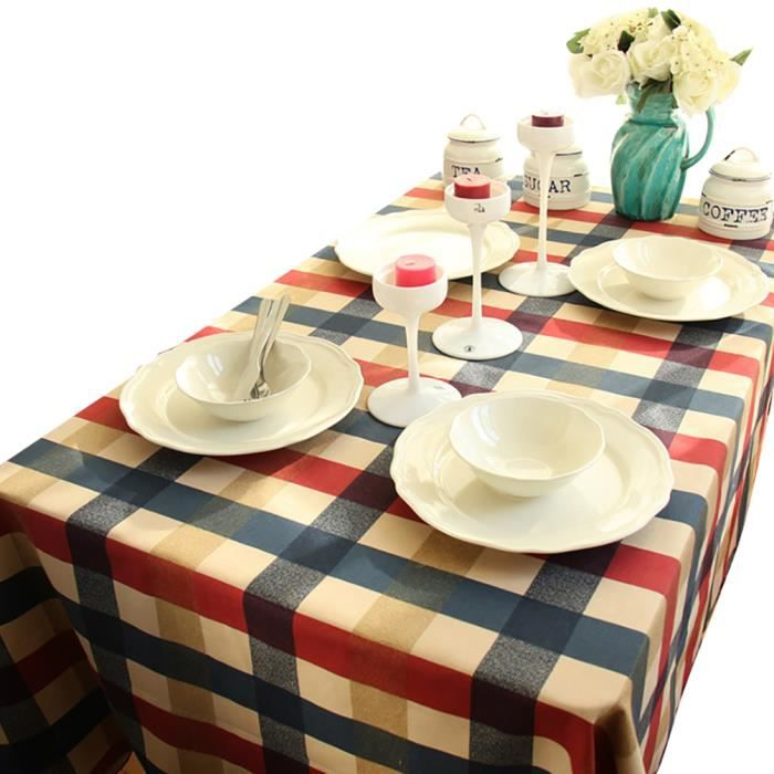 Keral nappe de table en coton a carreaux anti t che - Nappe table exterieur ...
