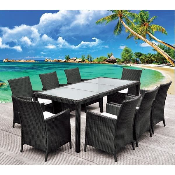 Salon de jardin table en r sine tress e noir 8 pl achat vente salon de jardin salon de for Housse de table de jardin en resine