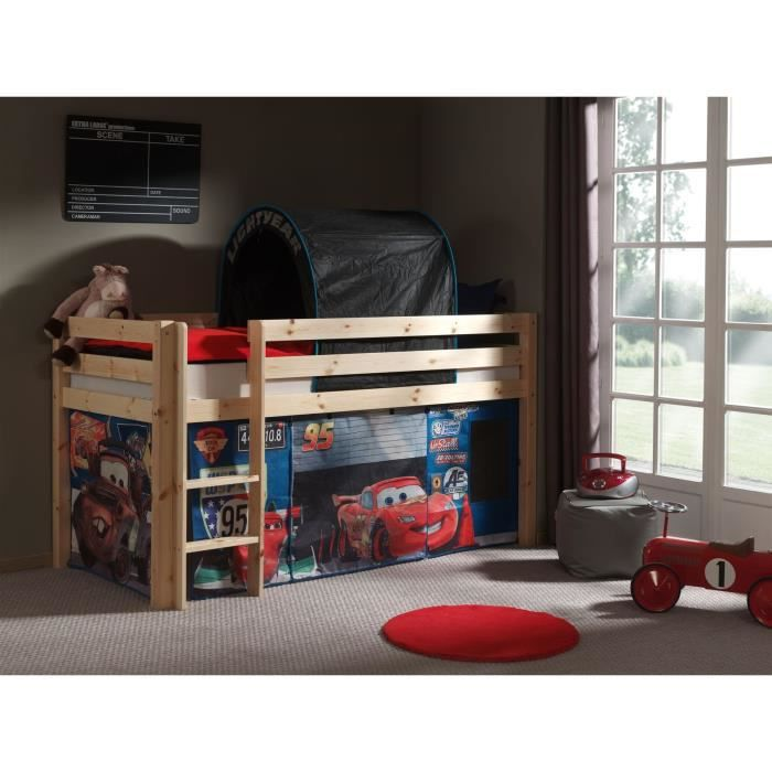 pino lit mezzanine enfant 90x200 housse cars bois clair achat vente lits superpos s pino. Black Bedroom Furniture Sets. Home Design Ideas
