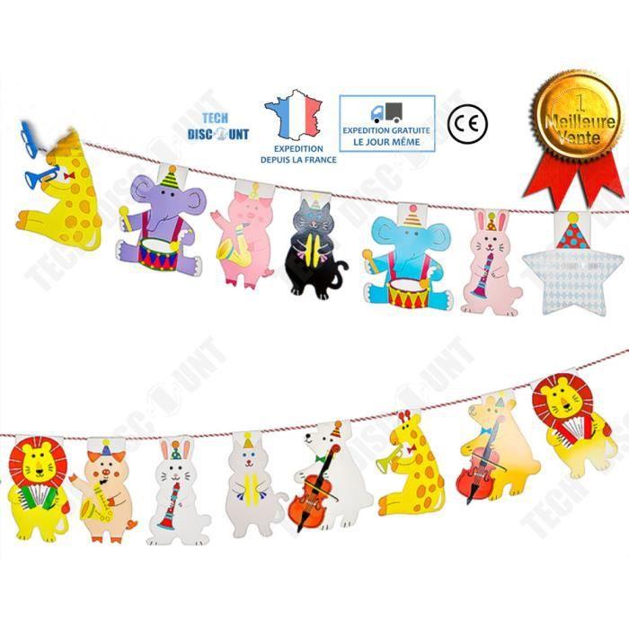 TD® bannière banderole guirlande bébé fanion décoration chambre enfant  baptême anniversaire forme d\'animaux dessin animé papier