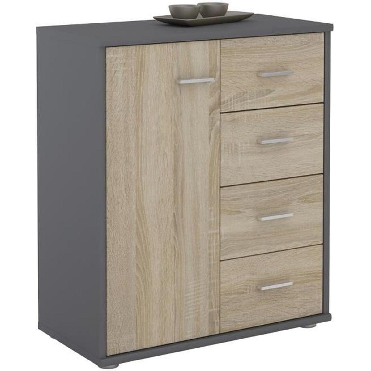 Panneau Melamine Noir Mat buffet oscar, commode meuble de rangement avec 4 tiroirs et