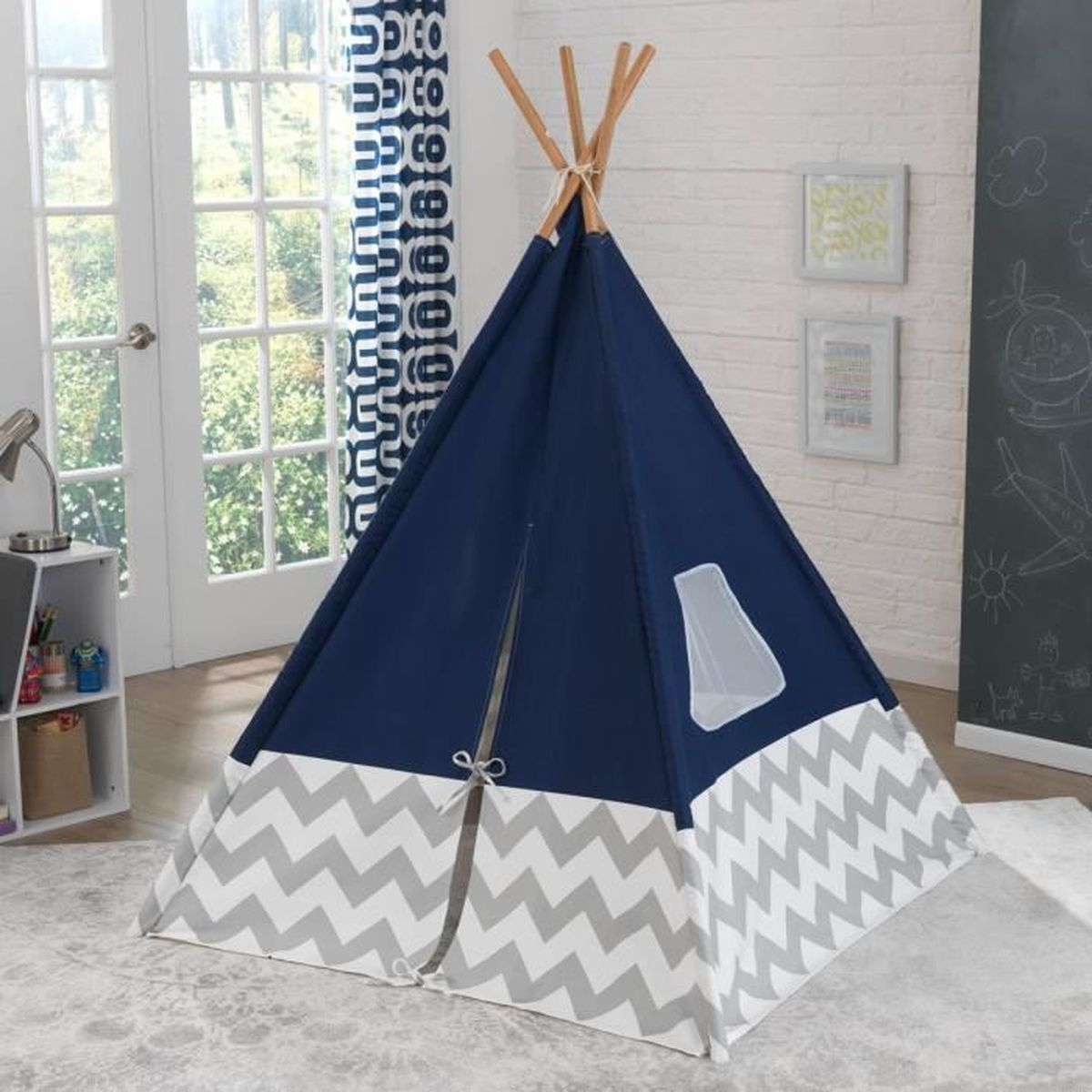 tente tipi d 39 indien pour enfant bleu marine jeux jouets. Black Bedroom Furniture Sets. Home Design Ideas