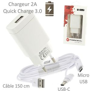 CHARGEUR TÉLÉPHONE Pour Huawei Y7 2019 : Chargeur Rapide Quick Charge