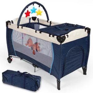 LIT PLIANT  Parc de Jeu pour Bébé, Lit Parapluie Pliable, Bleu