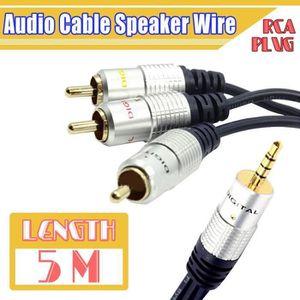 CÂBLE TV - VIDÉO - SON 5M Cable Auxiliaire Audio Stéréo3.5MM Mâle Vers 3