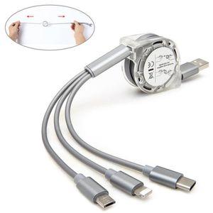 CÂBLE TÉLÉPHONE 3 in 1 Câble Chargeur, 1m Rétractable Cordon Rapid