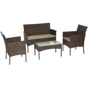 Ensemble table et chaise de jardin Salon de jardin CORDOUE en résine tressée marron 4