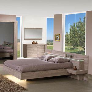 STRUCTURE DE LIT Cadre de lit + Tête de lit à chevets 160*200 cm -