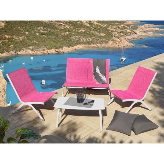 Salon de jardin moderne aluminium ROSA , 4 places + 1 table ...