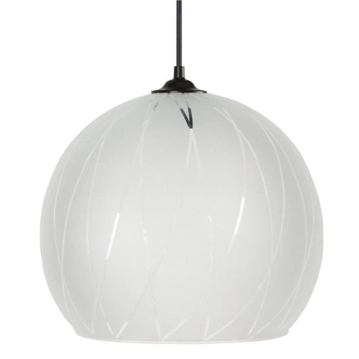 BIA Lustre - suspension verre Globe, diamètre 30 cm, décor lignes hexagonales, amte