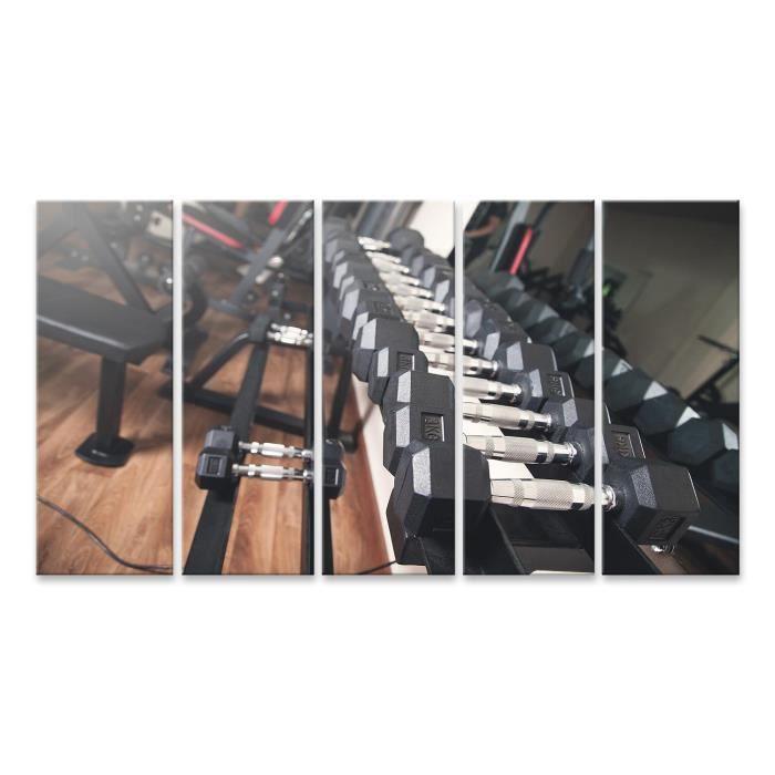 Tableau sur toile Haltères en métal pour la musculation en salle de sport. Taille: 170x80cm - 5 Pièces XXL