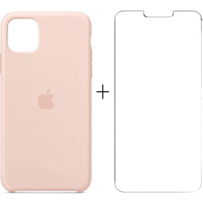 Apple Coque pour iPhone 12 Pro Max en Silicone Rose des Sables + Film Verre trempé pour iPhone 12 Pro Max 6.7-