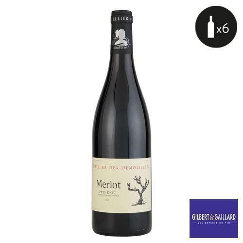 6 bouteilles - Vin rouge - Tranquille - CELLIER DES DEMOISELLES merlot des demoiselles Pays d'Oc Rouge 2019 6x75cl