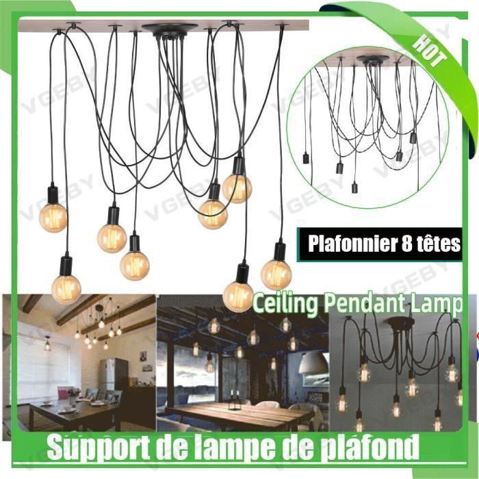 Lustre Araignée Rétro Suspension de Plafond Industriel Abat-jour Lustre à 8 ampoules E27 - Rétro vintage - ABI