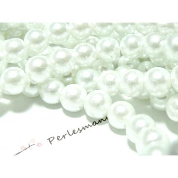 1 fil de 140 perles de verre nacre blanche 6mm - Perles et pierres