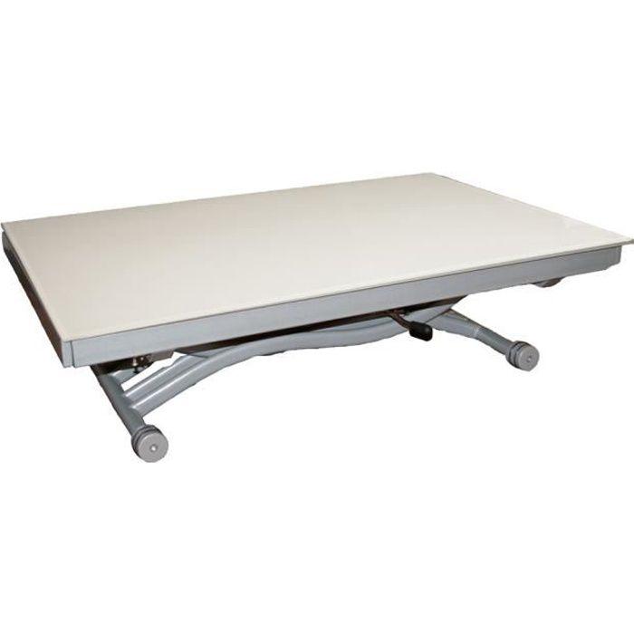Table basse relevable Zen - Plateau en verre blanc