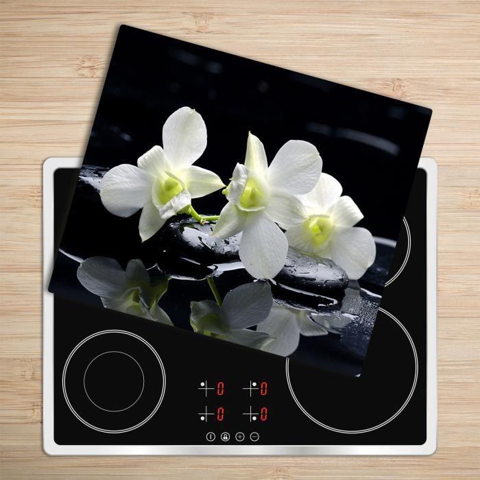 """Tulup Glass Planche à découper avec couvercle protecteur pour cuisine résistant chaleur 60x52 cm - """"Orchidée Rouge Glass"""""""