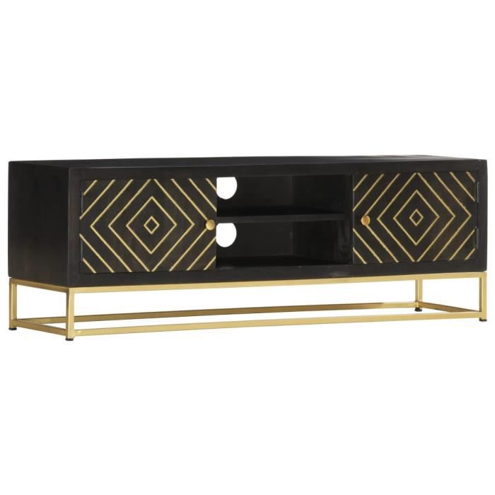 Meuble HIFI Contemporain Meuble TV Table de salon Noir et doré 120 x 30 x 40 cm Bois massif de manguier#96278