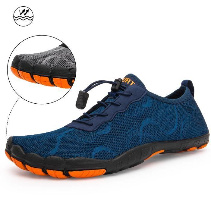 man blue aqua shoes 11,5 -Baskets à eau type pieds nus pour homme et femme,chaussures de natation, respirantes, de sport, pour rando
