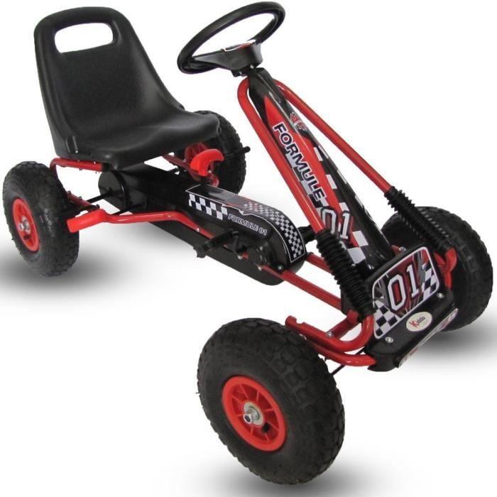 Kiddo Coureur Désign Rouge Des Gamins Enfants Kart à Pédales Voiture Miniature Go-Kart - Convient pour 4 à 8 ans - Nouveau