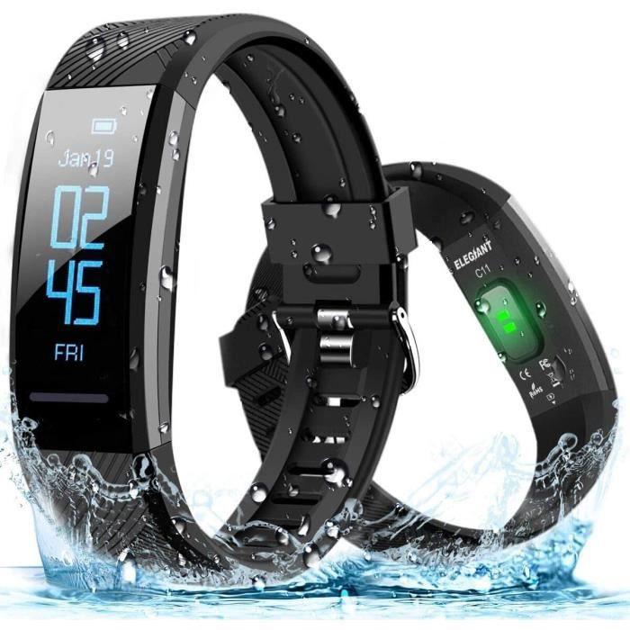 ELEGIANT Montre Connectée, Bracelet Connectée Fitness Tracker d'Activité Moniteur de Fréquence Cardiaque Cardiofréquencemètre Cardio