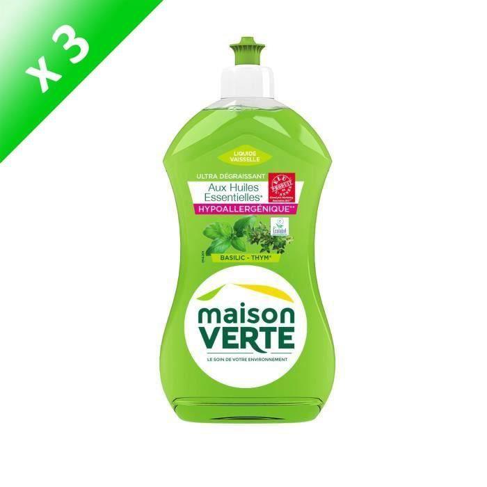 MAISON VERTE Liquides vaisselle - Thym basilic - 500 ml - Lot de 3