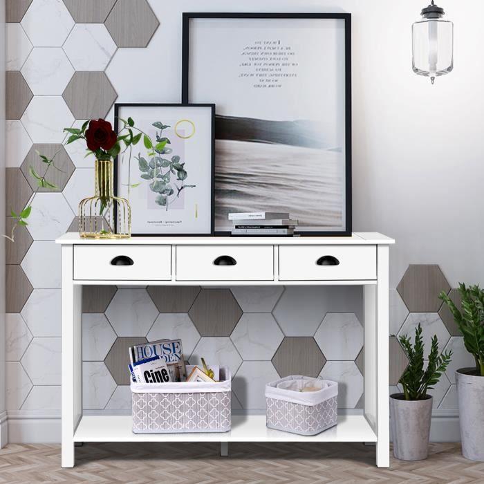 COSTWAY Table de Console avec 3 Tiroirs en Bois Table d'Entrée pour Salon, Entrée, Couloir, 120 x 39,5 x 81 CM Blanc
