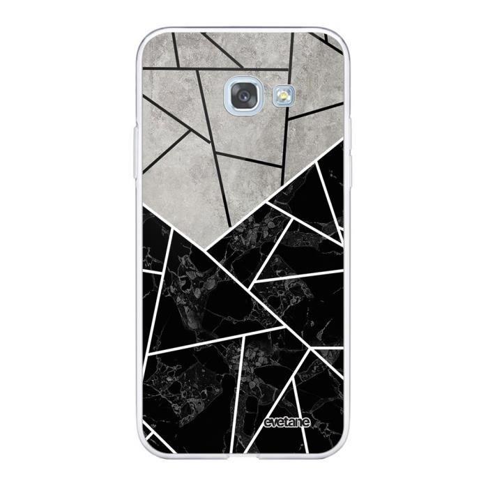 Coque Samsung Galaxy A5 2017 360 intégrale transparente Duo Noir-Gris Marbre Ecriture Tendance Design Evetane