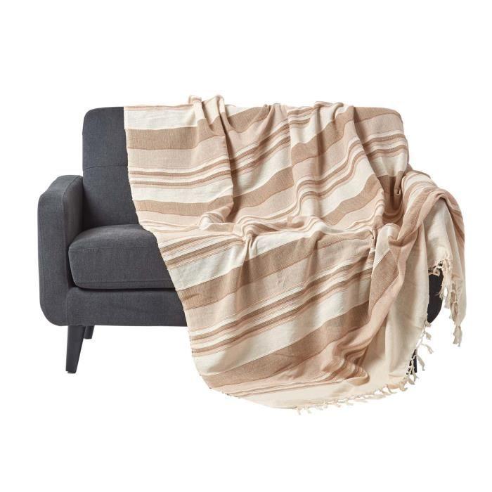 Jeté de lit ou de canapé - Morocco rayures - Beige - 250 x 355 cm