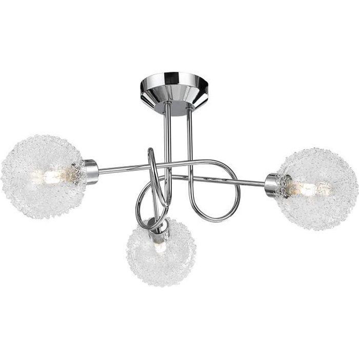 Plafonnier LED 3 spots croisés chrome Lampe intérieure design G9 Éclairage plafond salon IP20
