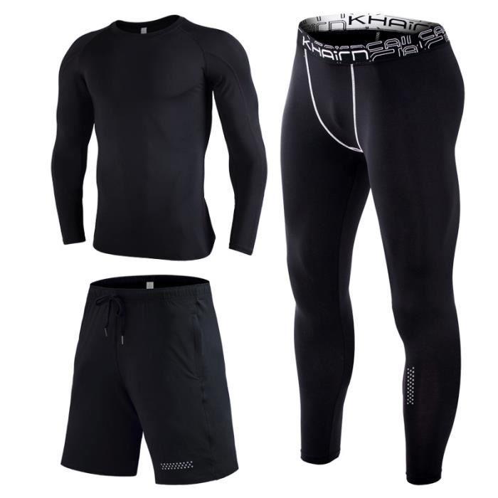 Ensemble de vêtements de sport homme 3pièces Maillot&Short&Collant Running Fitness Respirant Jogging Séchage Rapide Haute Élasticité