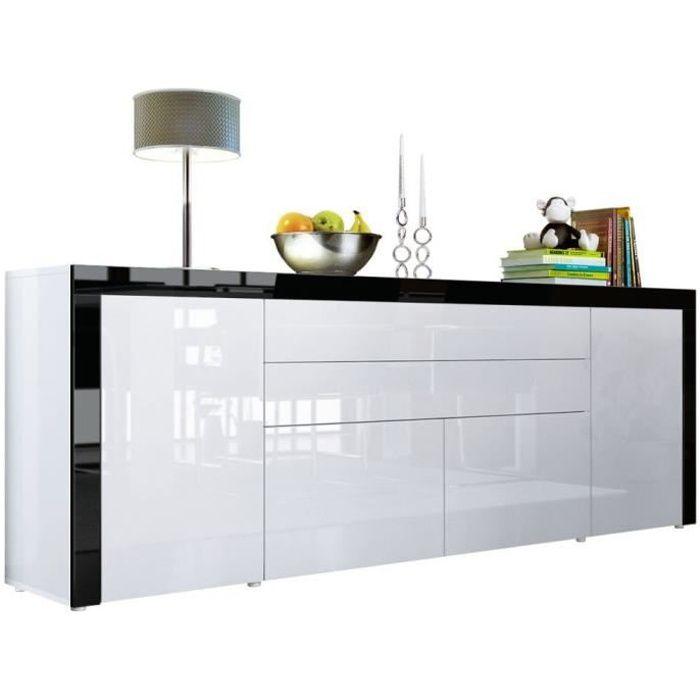 Buffet Blanc / Noir brillance 200 cm