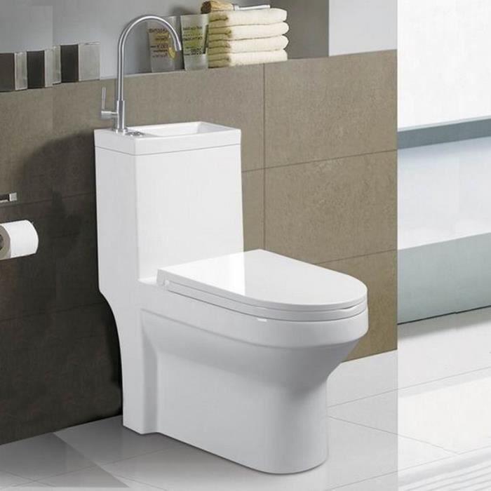 WC à Poser Monobloc avec Lave main intégré - Céramique Blanc - 39x68 cm - Creativ