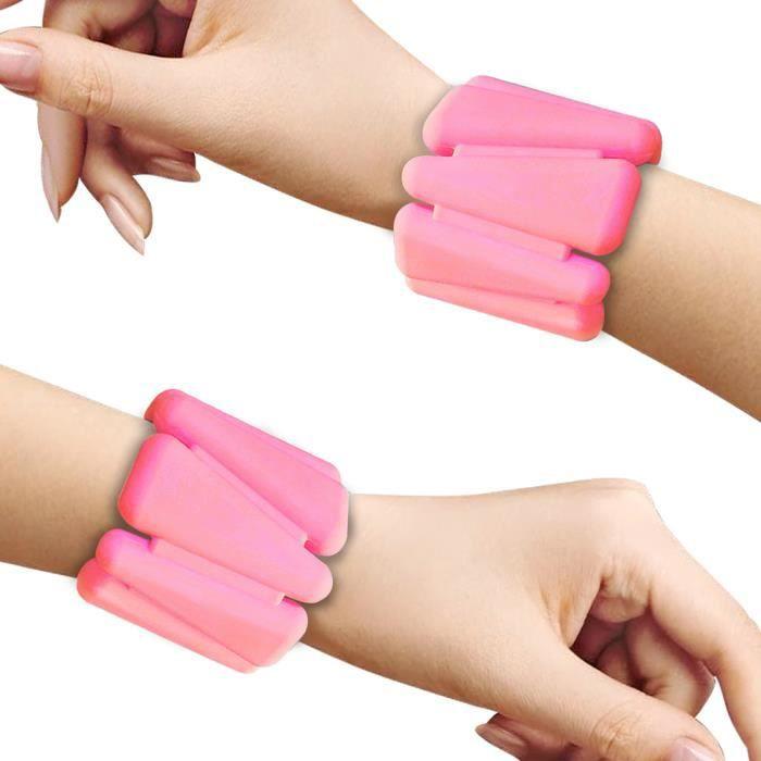 Bracelet poids ajustable de la cheville et du poignet Bracelet de pondération portable -Rose