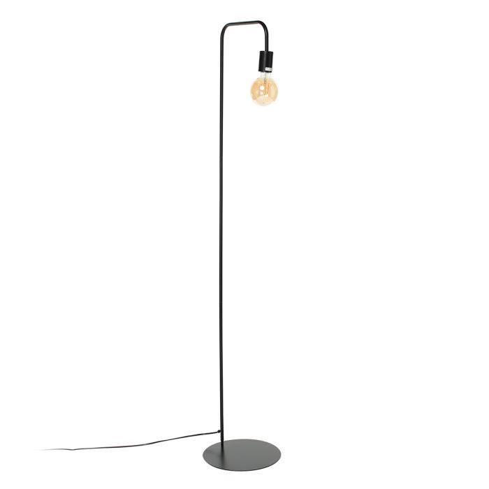 NORWICH Lampadaire en acier - L42 x P30 x H157 cm - Noir - Ampoule LED 4W E27 Noir comprise