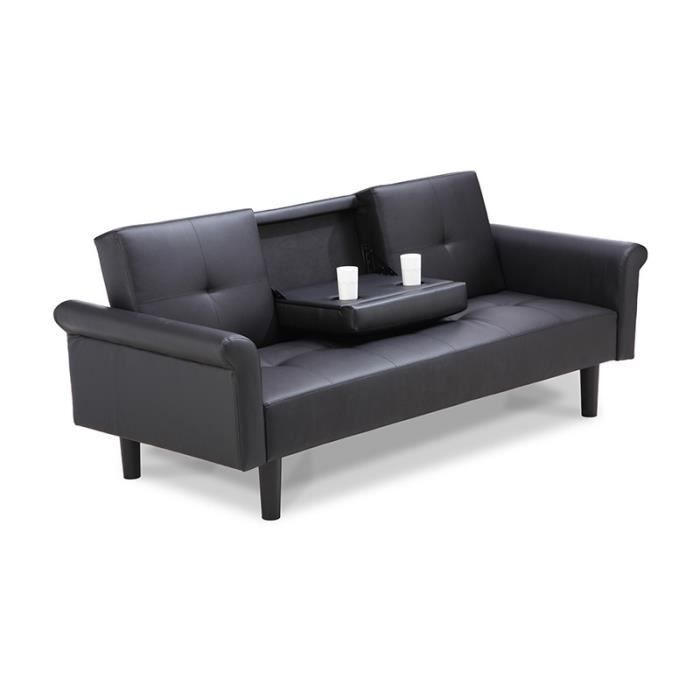 banquette clic clac noir avec tablette achat vente clic clac cdiscount. Black Bedroom Furniture Sets. Home Design Ideas