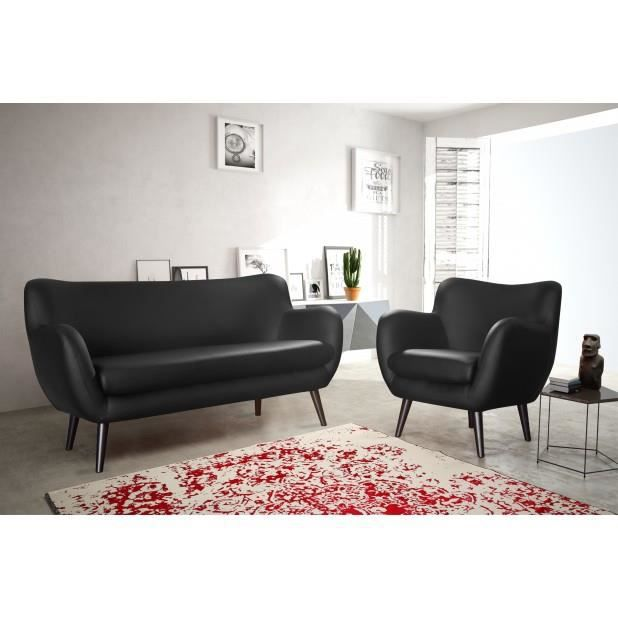canap adele 3 places noir simili cuir canap sofa divan achat vente canap sofa divan. Black Bedroom Furniture Sets. Home Design Ideas