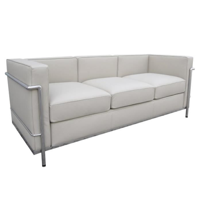 lc2 le corbusier 3 places blanc achat vente canap sofa divan cdiscount. Black Bedroom Furniture Sets. Home Design Ideas