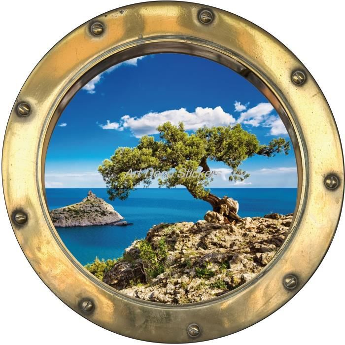 Sticker Hublot Trompe L Oeil D Co Arbre Belle Vue Dimensions Achat Vente Stickers Carton