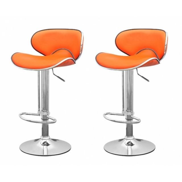 tabouret de bar orange x2 elite achat vente tabouret